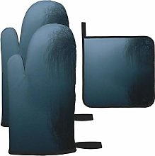 Vilico The Fog Dark Tree Landscape Oven Mitts and