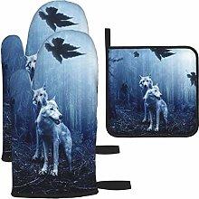 Vilico Wolf Forest Dark Predator Animal Oven Mitts