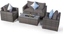 Villatoro Grey Rattan 2 Seat Sofa + 2 X Armchairs