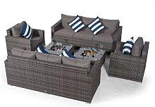 Villatoro Grey Rattan 2 X 3 Seat Sofa + 2 X