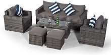 Villatoro Grey Rattan 3 Seat Sofa + 2 X Armchairs