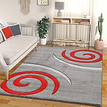 VIMODA Modern Designer Rug Colour Grey with Red