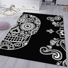 VIMODA Modern Living Room Rug Black White