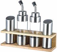 Vinegar and Oil Dispenser Set with Wooden Shelf, 5