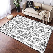 VINISATH Area Rugs Monochrome Sketch Style Famous