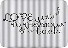 VINISATH Bath Mat,I Love You to The Moon and