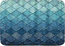 VINISATH Bath Mat,Ocean Blue Teal Mermaid Fish