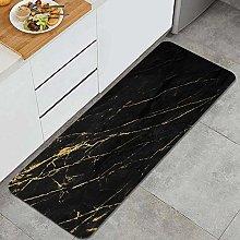 VINISATH Kitchen Floor Rug Black and gold marble