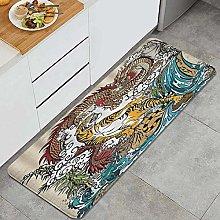 VINISATH Kitchen Mats Rug Washable,Buddhism Dragon
