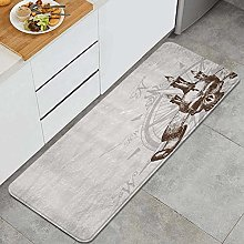 VINISATH Kitchen Mats Rug Washable,Compass with