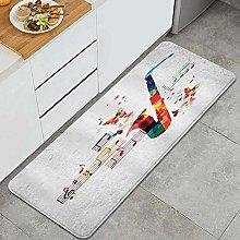 VINISATH Kitchen Mats Rug Washable,Music Colorful