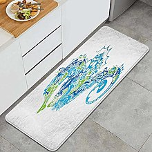VINISATH Kitchen Mats Rug Washable,Seahorse Design