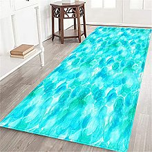 VINISATH Long Floor Mat abstract watercolor teal