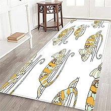 VINISATH Long Floor Mat Colorful Wild Chameleon