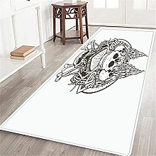 VINISATH Long Floor Mat Deer Horny Skull Art Hand