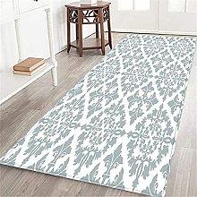 VINISATH Long Floor Mat Grey Victorian Damask