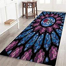 VINISATH Long Floor Mat Stained Glass Rose