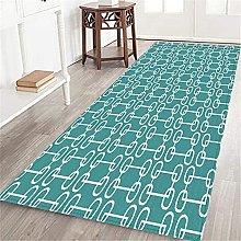 VINISATH Long Floor Mat Turquoise retro squared