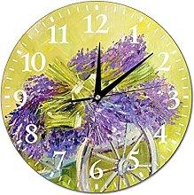 VinMea Wall Clock Cart With Lavender Hanging Clock