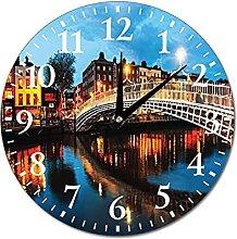 VinMea Wall Clock Dublin, Ireland Night Hanging