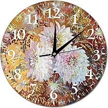 VinMea Wall Clock Fantasy With Dahlias Hanging