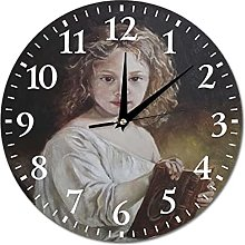 VinMea Wall Clock Girl With A Book, Oil Painting