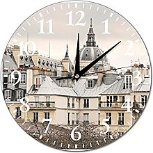 VinMea Wall Clock Gray Rooftops Of Paris