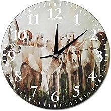 VinMea Wall Clock Hunting With Dogs, Oil Painting