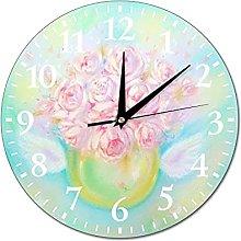 VinMea Wall Clock Painting Peonies With Love