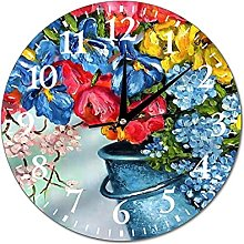VinMea Wall Clock Painting With A Bouquet In Pail