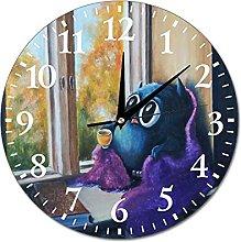 VinMea Wall Clock Painting With An Owl Autumn Mood