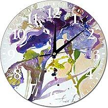VinMea Wall Clock Painting With Iris Lilac Iris
