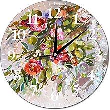 VinMea Wall Clock Painting With Peonies Bohema