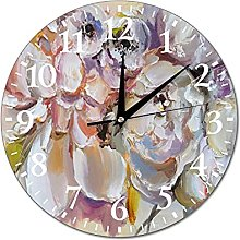 VinMea Wall Clock Painting With Peonies In Oil And