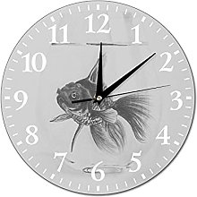 VinMea Wall Clock Picture With A Fish In A Glass