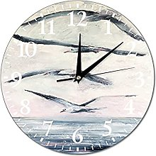 VinMea Wall Clock Picture With Gulls, Seascape,