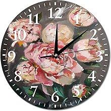 VinMea Wall Clock Souffle Painting With Peonies