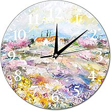 VinMea Wall Clock Sunny Landscape With Flowers