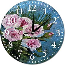 VinMea Wall Clock The Picture With The Pink Roses