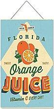VinMea Wooden Hanging Sign Wall Decor Orange Juice