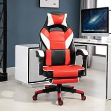 Vinsetto Cool & Stylish Gaming Chair Ergonomic w/ Padding Footrest Neck Back Pillow Adjustable Chair Red