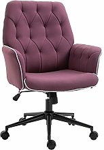Vinsetto Linen Office Swivel Chair Mid Back