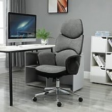 Vinsetto Padded Linen Ergonomic Home Office Chair