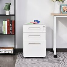Vinsetto Steel 3-Drawer Curved Mobile File Cabinet