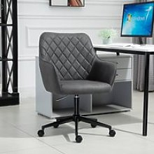 Vinsetto Swivel Office Chair Leather-Feel Fabric