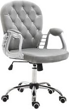 Vinsetto Velour Office Chair Diamante Tufted