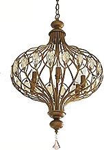 Vintage American Metal Cage Lantern Crystal Dining