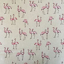 Vintage Animals Flamingos Cotton Rich Linen Look