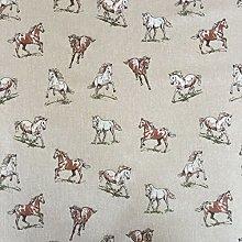 Vintage Animals Horses Cotton Rich Linen Look