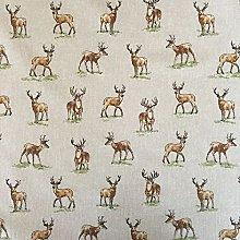 Vintage Animals Stags Cotton Rich Linen Look